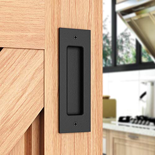(EaseLife 6-1/2''Sliding Barn Door Hardware Finger Pull,Flush Mount Door Pull,Easy Install,Black Powder Finished,Sturdy)