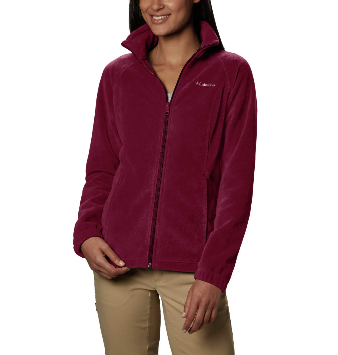 Columbia Women's Benton Springs Full Zip Jacket, Soft Fleece with Classic Fit, Rich Wine, Small by Columbia