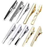 Jovivi Set of 7-10 Tie Clips Stainless Steel Necktie Tie Bar Clasp Pin Wedding Gift, Silver Gold Black 3 Tone