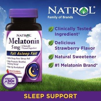 Natrol? Mélatonine 5 mg, 250 Dissoudre rapide comprimés saveur de fraise