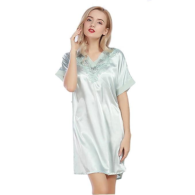 DSJJ Pijama Mujer Camison Verano Manga Corta Vestido Casual Nightclothes de Satén (Talla única)