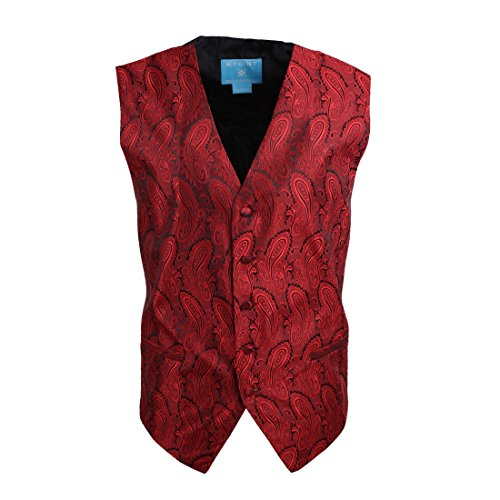 EGC1B03B-M Red Patterned Classy Fabric Waistcoat Woven Microfiber Discount Gifts Medium Vest By (Mens Discount)