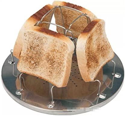Espeedy Tostador de pan,4 rebanada plegable estufa tostadora de pan de acero inoxidable utensilios de cocina para caravana senderismo camping