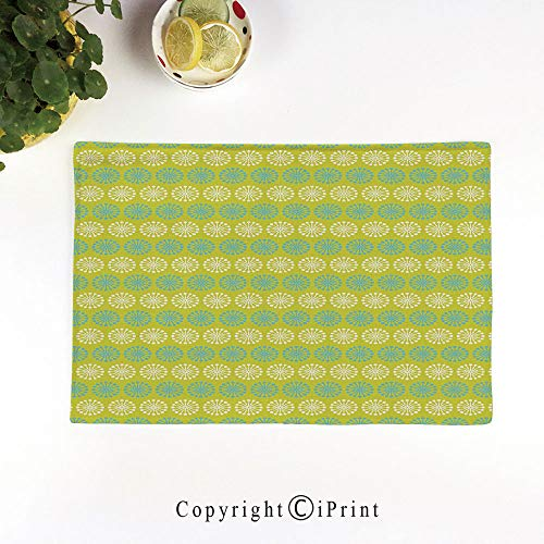 Placemats Sets Washable Table Mats Cup Linen Mat Heat/Stain Resistant Mats for Dining Table,Floral Pattern Blossoming Dandelion Nature Spring and Summer Theme Decorative,Yellow Green Blue White
