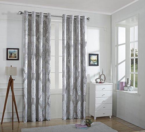 Grommet Top Velvet Panels (Ifblue Window Treatment -European Style Light Filtering Cutting Velvet Sheer Window Curtain Panel With Grommet Top (2-Pack, One Pair) (52