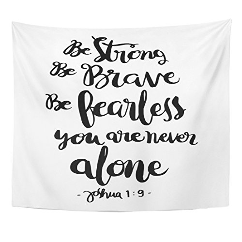 Breezat Tapestry Be Strong Brave Fearless You Are Never Alone Bible Verse Hand Lettered Quote Modern Calligraphy Christian Home Decor Wall Hanging for Living Room Bedroom Dorm 50x60 Inches by Breezat