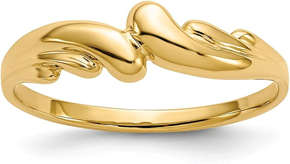 14k Polished Swirl Dome Ring Size 4.5 Length Width 1