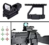 ak 47 quick release side mount - Ultimate Arms Gear AK 47/Saiga 7.62X39 Tactical QD Picatinny/Weaver Top Rail Side Scope Mount + Reticle Red Green Open Reflex Hunting Sight