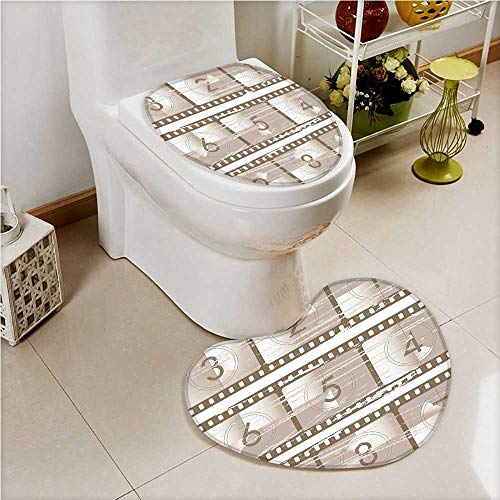 aolankaili Toilet Heart Shaped Foot pad Numbers Vector Style of Countdown Numbers on a Film Strip UmberTaupe Washable Non-Slip