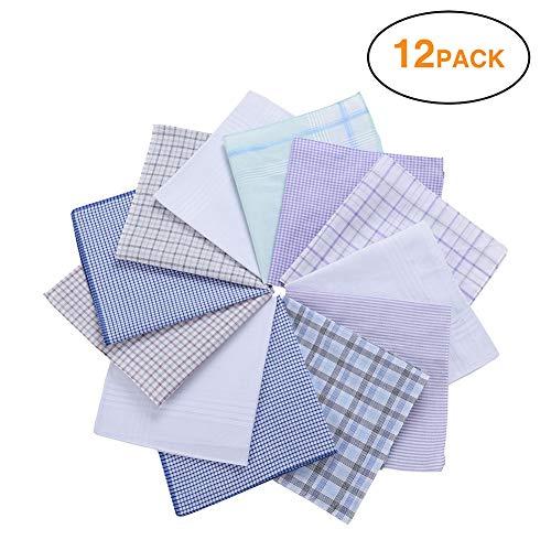 H.FaceSSS Men's 100% Soft Cotton Handkerchiefs with Plaid Pack of 12 (Cotton Suit Plaid)