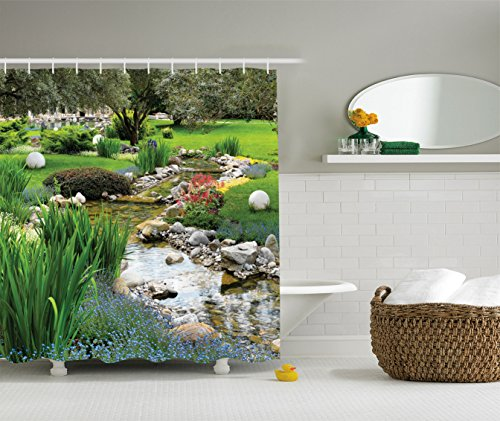 Ambesonne Country Home Decor Collection, Garden with Pond in Asian Style Flowing Stream Wild Flowers Bushes Stones Landscape, Polyester Fabric Bathroom Shower Curtain, Olive Green Blue from Ambesonne