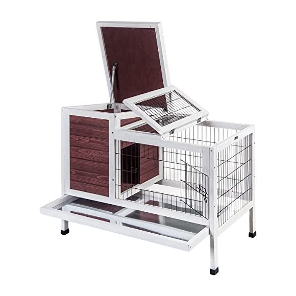 Purlove Pet Rabbit Bunny Wood House Hutch Small Animal Cage with Tray, Auburn and White(Rabbit Hutch #2)