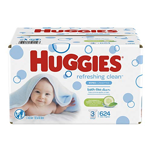 HUGGIES Refreshing Clean Scented Baby Wipes, Hypoallergenic, 3 Refill Packs, 624 Count Total