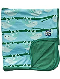 KicKee Pants Print Stroller Blanket, Confetti Sloth with Shady Glade Trim