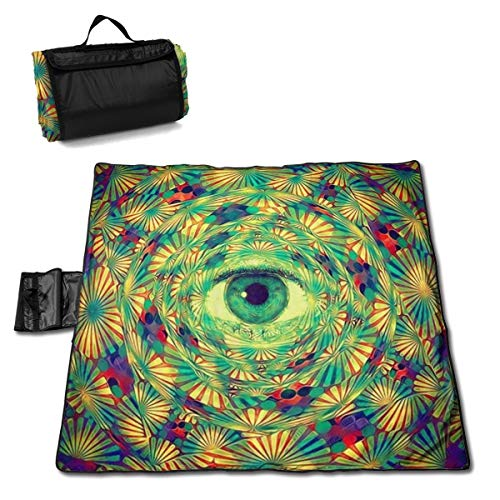 Trippy Eye Psychedelic Hippie Spiral Circle Washable Extra Large Picnic & Beach Blanket Handy Mat Plus Sandproof Waterproof Padding Portable for Family Friends Kids 57