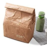 Lunch Bag for Men, Women, Kids, Tyvek Leakproof Insulated Brown Paper Lunch Box, Lightweight Tote Cooler Thermal Lunch Kit, Reusable Eco-friendly Lunch Pack Organizer for Work/School/Picnic