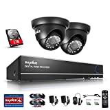 SANNCE 4CH 1080N Security Camera Video DVR With 1TB Hard Drive and (2) 720p HD Weatherproof Surveillance Security Camera System with Remote Access, Motion Detection