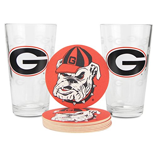 NCAA Pint Glass and Coaster Set (2 Pack) (Georgia Bulldogs (Etched Glass))