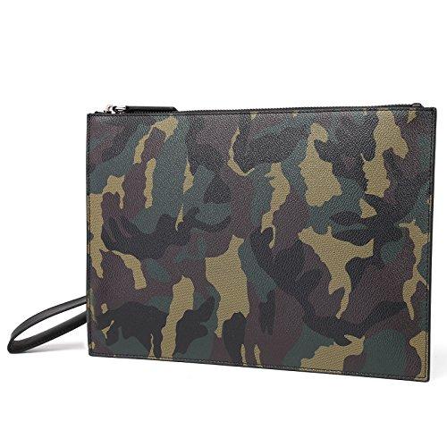Camouflage Womens Handbag (Men & Women Large Capacity Camo Leather Clutch Bag Youth Fashion Trend Zip Purse Wristlet Handbag)