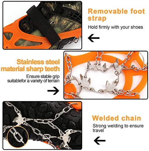 Zhovee 19 Spikes Crampons, Anti Slip 19 Stainless Steel Spikes and Durable Silicone, Safe Protect for Walking, Jogging, Climbing or Hiking on Snow and Ice