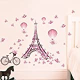 Vinyl Wall Sticker, Venkaite Mural Decal Pink Paris Tower DIY Removable Wall Decal for Home Living Room Background Decor 65x100cm (25.6x39.3 inches)