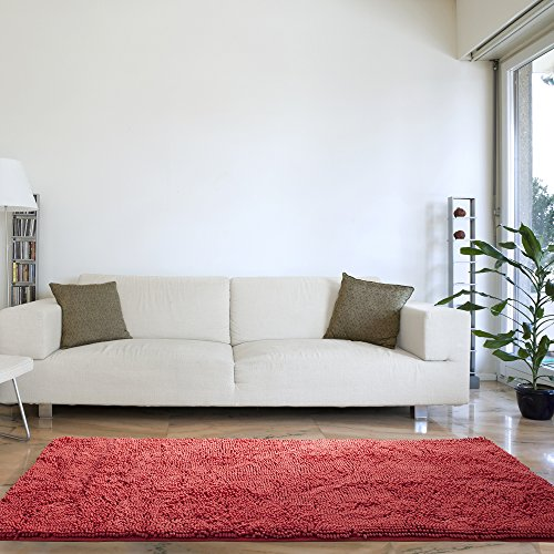 Lavish Home High Pile Shag Rug Carpet - Coral - 30x60 (Coral Colored Rugs)