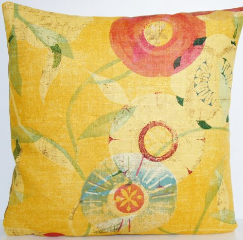 (Mustard Decorative Pillow Case Floral Cushion Cover Osborne and Little Fabric Jangala Rose )
