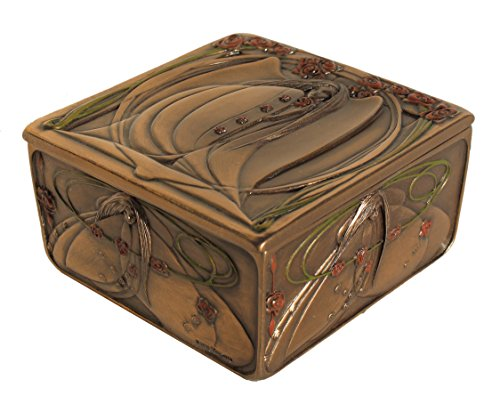 VERONESE Mackintosh Style Art Nouveau Rose Maiden Trinket Box Cold Cast Bronze