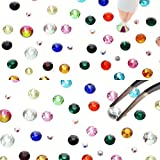 UOONY 10272pcs Hotfix Rhinestones Flat Back Crystal Gems Round Glass Rhinestones Set with Clear Crystal, Clear AB and Rainbow 4 Sizes, 12 Mixed Color Rhinestones for DIY Craft, Face Art