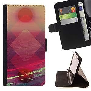 Momo Phone Case / Flip Funda de Cuero Case Cover - Polygone Vibrant Sun - Huawei Ascend P8 Lite (Not for Normal P8)