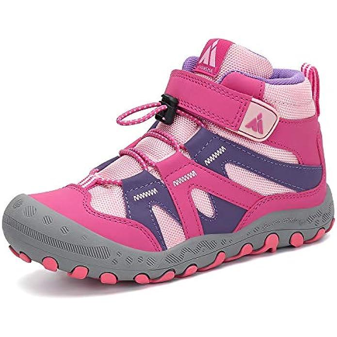 Mishansha Kids Hiking Boots Safe Boys Girls Hiking Shoes Outdoor Trekking Walking Knit PU Ankle Booties