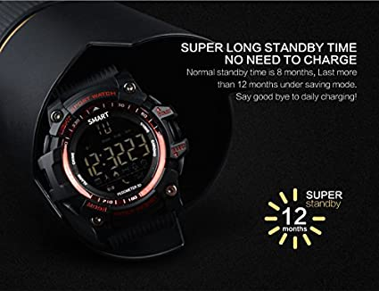 Amazon.com: EX16 Sport Smart Watch, Bluetooth 4.0 IP67 Waterproof Sports Wristwatch Pedometer Call SMS Reminder Remote Control Luminous Dial Watch For ...