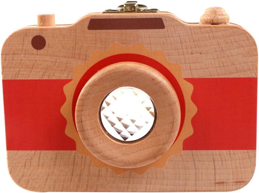 Baby Teeth Save Box Camera Shape Milk Teeth Wood Storage Box Organizer Fetal Hair Teeth Keepsake Box Souvenir Gift for Children