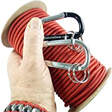 """Shock Cord - Marine Grade - Made in USA. Includes 2 Carabiners & Knot Tying eBook. 1/8"""", 3/16"""", 1/4"""" Diameter, 25 / 50 / 100 ft. 6 Colors. Also called bungee cord, stretch cord & elastic cord."""