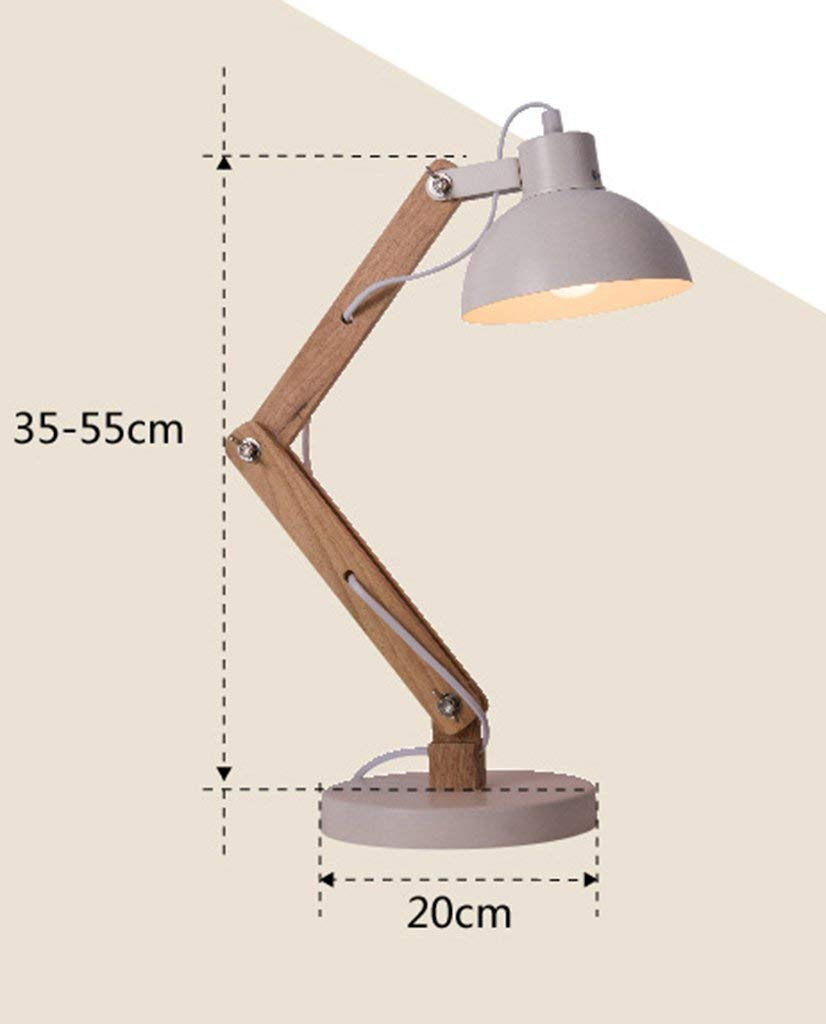 Simple Nordic Home Creative Wooden Art Read Table Lamp Log Bedroom Bedside Desk Lamp Energy Saving and Environmental Protection Modern, ChuanHan