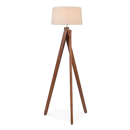 Tripod Wooden Floor Lamp Walnut Amazon Co Uk Kitchen Home