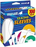 Maxell 190133 Heavy-Duty Paper with Clear Plastic Window CD & Dvd Sleeves White 100 Pack (Paper) for 12cm Formats