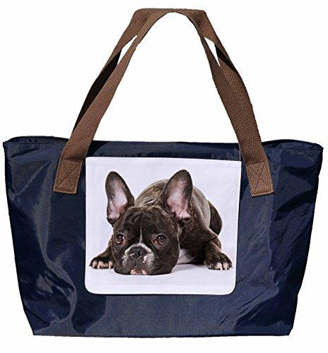 Shopper /Schultertasche / Einkaufstasche / Tragetasche / Umhängetasche aus Nylon in Navyblau - Größe 43x33cm - Motiv: Französische Bulldogge träumt vor sich hin - 01