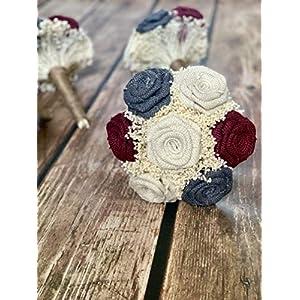 Ivory,Burgundy, Dark Grey Wedding Bouquets (Choose Bridesmaids + Bridals) Rustic Bouquets, Burlap Bouquets, Rustic Wedding Bouquets, Burlap Wedding Bouquets, Bouquets 70
