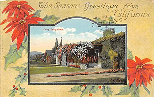 Christmas Post Card Old Vintage Antique Xmas Postcard Season Greetings from California 1920