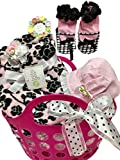 Combined Brands Baby Girl Blanket, Booties, Sun Bonnet, Rose Hair Band, Handy Tote Bundle - Shower, Baby, Christmas Gift,Pink