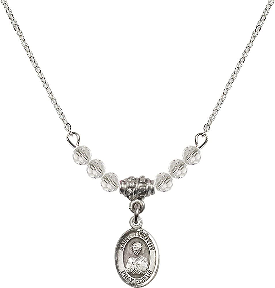 18-Inch Rhodium Plated Necklace with 4mm Crystal Birthstone Beads and Sterling Silver Saint Timothy Charm.