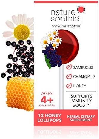 Nature Soothie Immune Soothie Honey Lollipops with Herbal extracts for Immunity Boost and Support Black Elderberry Chamomile Extract 12 Count 1 Pack