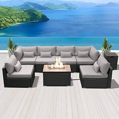 Sun peak Fire Table Set Sectional Outdoor Furniture Propane Firepit Dark Brown Rattan Multi Colors Outdoor Sofa Set a Light Gray Rectangular Table