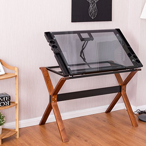 Tangkula Drafting Table Home Office Glass Top Adjustable Drawing Desk by Tangkula
