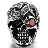 Bishilin Men's Stainless Steel Red Eyes Skull Head Gothic Biker Ring Jewelry Size 10