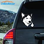 "Felizdecor Vinyl Animals Car Sticker Husky Dog Decal Waterproof Removable Car Decor,Laptop Decals (6"", L450) 5"