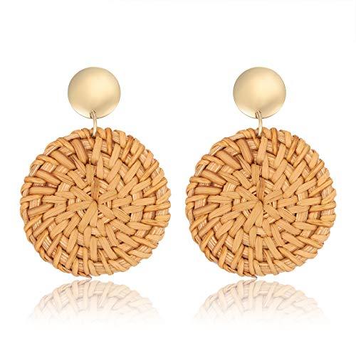 - TIKCOOL Rattan Earrings for Women Straw Earrings Statement Dangle Drop Earrings Handmade Wicker Woven Jewelry (Round Dark-Disc Stud)