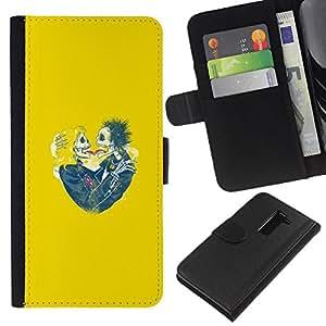 Be-Star la tarjeta de Crédito Slots PU Funda de cuero Monedero caso cubierta de piel Para LG G2 D800 ( Yellow Hearts Couple Skull Skeleton )