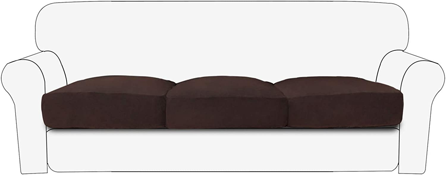 PureFit Stretch Velvet Non-Slip Sofa Couch Cushion Cover - Removable Sofa Seat Covers for Dogs, Washable Elastic Furniture Slipcovers Protector for Kids and Pets (3-Piece Sofa, Chocolate)